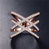 Fashion Rings for Women Double Letter X Shape Ring Zirconia Micro Paved Women