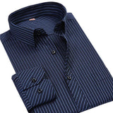 4XL 5XL 6XL 7XL 8XL Large Size Men's Business Casual Long Sleeved Shirt White Blue Black Striped Male Social Dress Shirt Plus