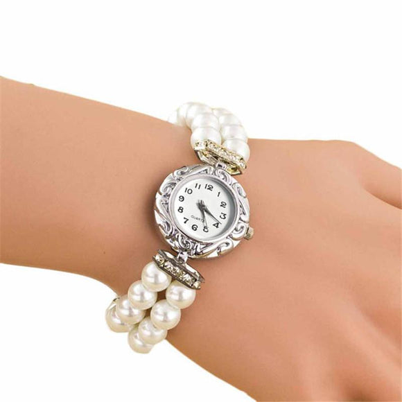 Students Watch Women Beautiful Fashion Jewelry Brand New Simulated-Pearl Quartz Wristwatches Bracelet Watch Reloj Mujer A02