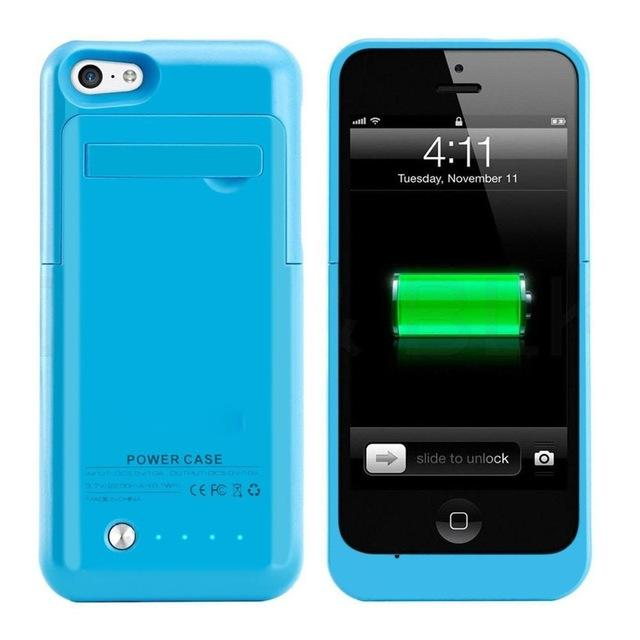 detailed look 55663 84eb2 2200mAh External Backup Battery Charger Extended Rechargeable Power Bank  Case Cover for iPhone 5 SE 5S 5C with Kickstand