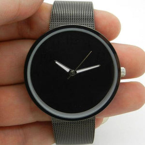 Black Full Metal Steel Iron Net Web Mesh Band Fashion Simple Quartz Wrist Watch Hours Mens Womens relogio masculino Clock Q1003
