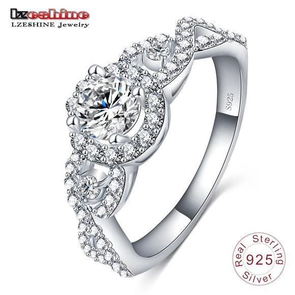 LZESHINE Engrave Name 2017 New Collection 925 Sterling Silver Brilliant Stackable Ring Clear CZ Ring Fine Jewelry