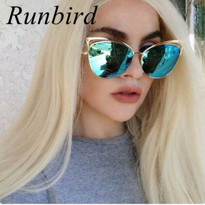 2016 Vintage Modern Cat Eye Sunglasses Women Metal Frame Mirror Flat Shape Rose Gold Sun Glasses