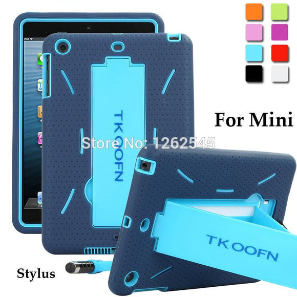 Shockproof Anti-slip Case for Apple iPad Mini Heavy Duty Case Silicone Hard Case Bracket Protect Tablet Shell for ipad mini
