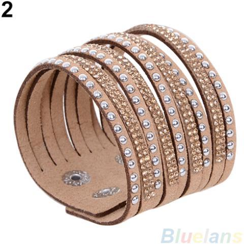 Women's Multilayer Rivet Rhinestone Suede Cuff Bangle Wristband Bracelet 1UA2