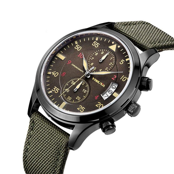 YISUYA Cool Fashion Chronograph Quartz Wrist Watch Men Wristwatches Aviator Analog Army Green Nylon Strap Gift for Male Clock