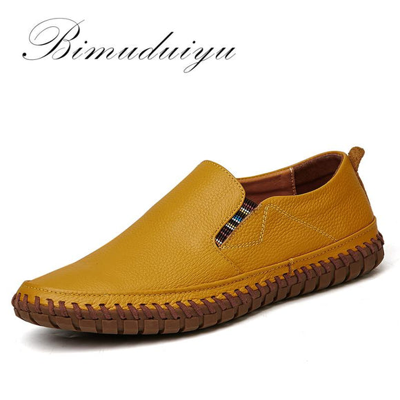 BIMUDUIYU Hot Sale Handmade High Quality Genuine Leather Men Flats Breathable Causal Shoes Slip-on Business Lazy Driving Shoes