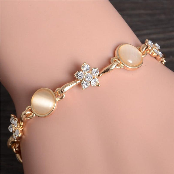 ZOSHI 2017 New Fashion Gold Color Charm Bracelet For Women Flower Bracelet Natrual Cats's Eye Stone Crystal Beads Jewelry