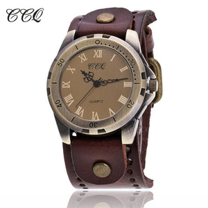 CCQ Retro Roman Numeral Mens Watches To Brand Luxury Cow Leather Bracelet Wristwatch Casual Sport Quartz Watch Reloj Hombre C20