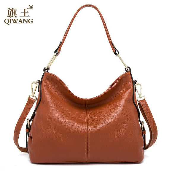 QIWANG 100% Genuine Leather Bag Brand Designer Cowhide Leather Handbags New HOBO Purse Fasion Lady Pink Handbag High Quality