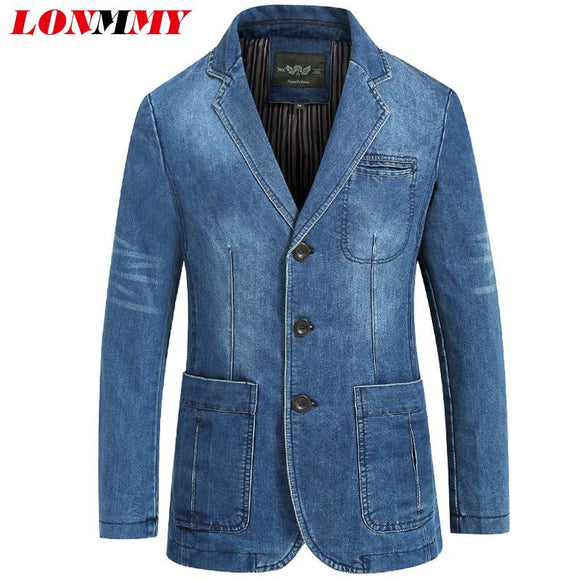 LONMMY Cowboy blazer jeans jacket men 80% Cotton Denim jacket men blazer Suits for men jaqueta Brand-clothing Casual M-4XL