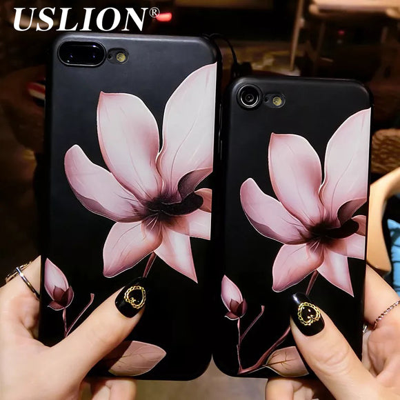 USLION Fashion 3D White Flower Paint Phone Case For iPhone 7 Vintage Soft TPU Back Cover Cases Coque For iPhone7 8 6 6s Plus