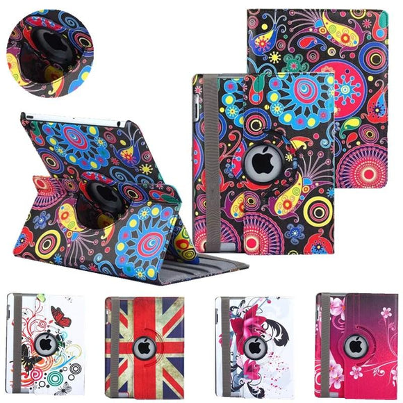 usps Fast ship from USA New smart Case for apple ipad4 ipad 3 ipad 2 Cover 360 Rotating PU Leather tablet case girl case cover
