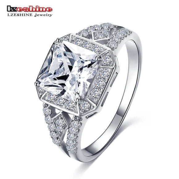 LZESHINE Big Exquisite Silver Color Micro Inlay Clear AAA Cubic Zircon Couple Knuckle Rings