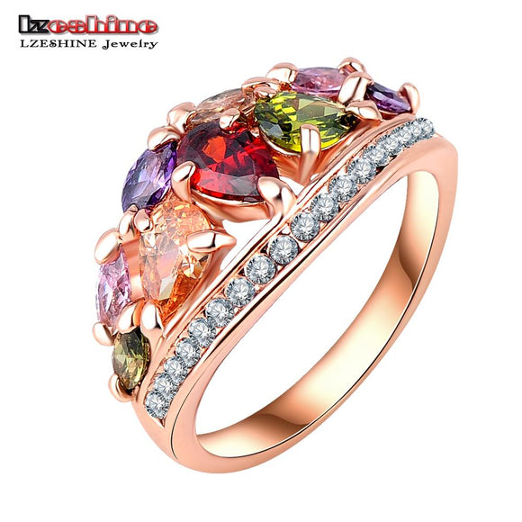 LZESHINE 2016 New Arrival Multicolor Fashionable Ring for Women Rose Gold Color with AAA Zircon Rings