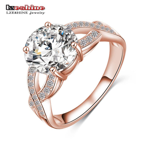 LZESHINE Unique Design Hollow Gold/Silver Color Fashion Punk Women Rings Jewelry Clear AAA Zircon