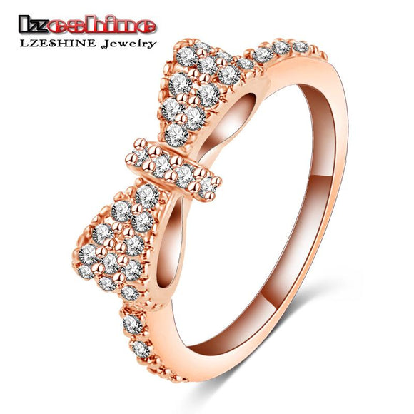 LZESHINE Lovely Bow Rings Rose Gold Color Micro Inlay Full Cubic Zirconia Romantic Jewelry Party Rings #6 7 8 9