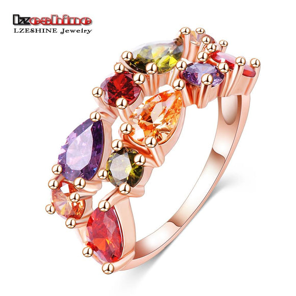 LZESHINE Wedding Ring Bands Bijouterie Finger Ring Rose Gold Color With Colorful Austrian Zirconia