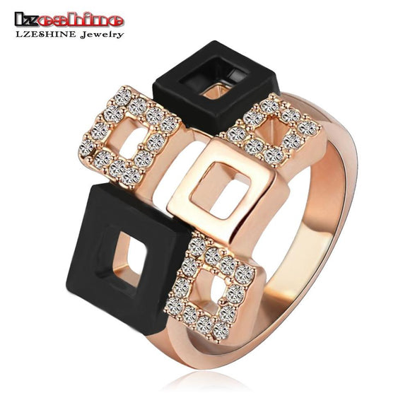 LZESHINE 2017 Geometric Crystal Rings Rose Gold/Silver Color Austrian Crystal Square Ring Full Sizes