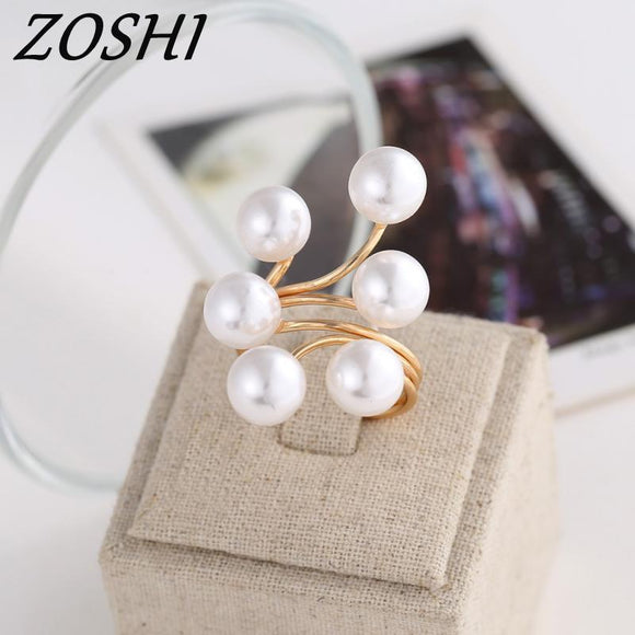 ZOSHI Brand 2017 New Ring Fashion Elegant simulated Pearl Opening Rings women jewelry big discount finger ring