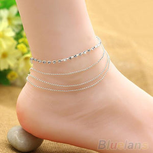 Chic Women's 4 Layers Crystal Beads Sandal Beach Anklet Ankle Chain Foot Jewelry B02 1MJE