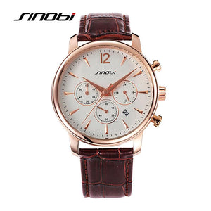 SINOBI Causal Mens Wrist Watches for Luxury Top luxury Brand Chronograph Leather Watchband Males Quartz clock Montre Hommes 2017