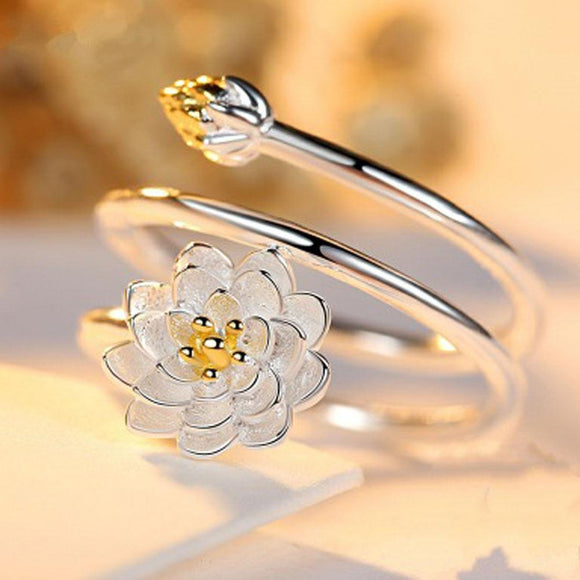 Woman Jewelry Fashion Simple Lotus Ring Personality Female Flower Rings Open Design