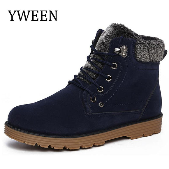 YWEEN Hot Plush Snow Cotton men'shoes Autumn Winter Lace-up Style Brand Fashion Trend Flock Short men's Ankle Martin Boots