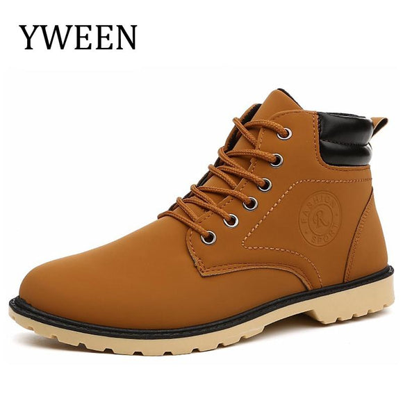 YWEEN Men Leather Boots Autumn Winter High Style Waterproof Fashion Outdoor Work Shoes Casual Martin Boot For Man Hot Sale