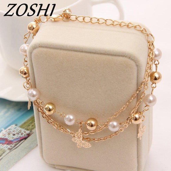 ZOSHI Bohemian Gold Color Chain Multilayer Beads Stretch Charm Bracelet & Bangle For Women
