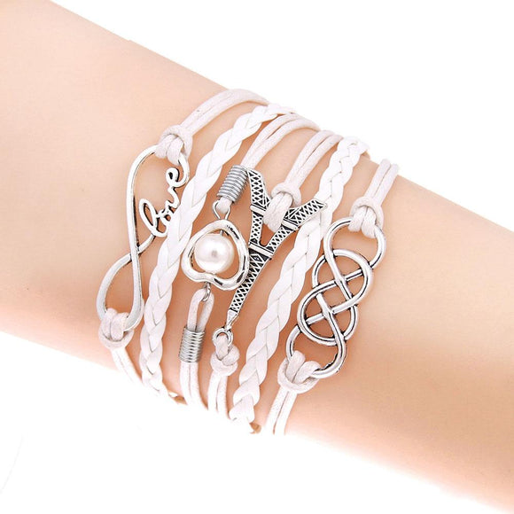 Tomtosh Fashion multilayer Charm bracelet anchor leather bracelet