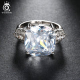 ORSA JEWELS 2017 Luxury Big Size 8 Ct Cushion Cut Cubic Zirconia Women Ring Lead&Nickel Silver Color Ring for Ladies