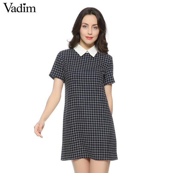Women casual plaid dresses swallow check Turn-down collar short sleeve straight dress white collor Work Wear Female Dress QZ735
