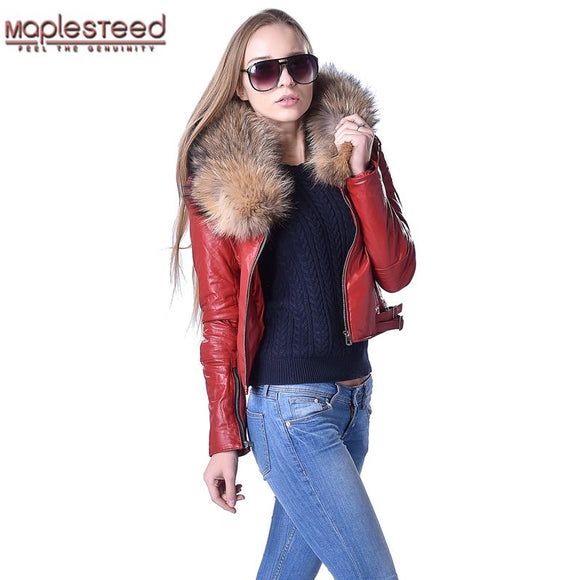 Factory Women Quilted Leather Jacket Genuine Sheepskin Raccoon Fur Collar Yellow Black Red 3 Colors Slim Short Coat Winter ZH128