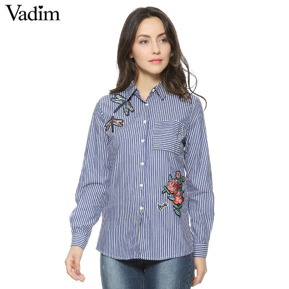 Women floral dragonfly embroidery full cotton striped blouse long sleeve long shirt European ladies casual tops blusas LT1275