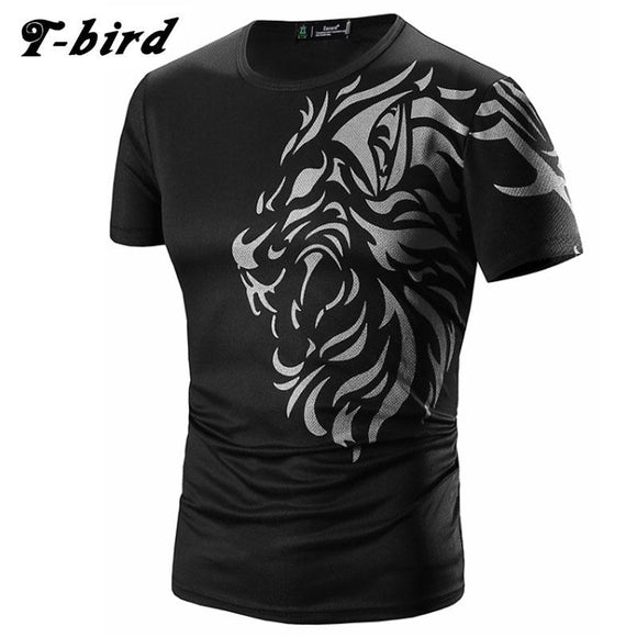 T Shirt Men 2017 Brand Short Sleeve Hip Hop Male T-Shirts Mens Tattoo Printing Casual Mens Funny Tshirt Slim Tee Tops 3XL