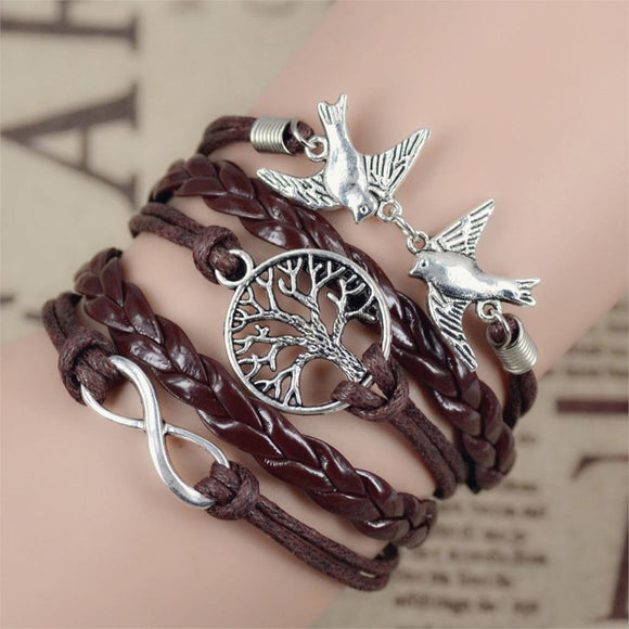 2017 New Infinity Love Leather Love Owl Leaf Charm Handmade Bracelet Bangles Jewelry Friendship 2pac/lot