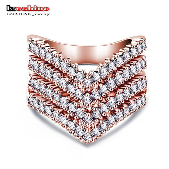 LZESHINE New Fashion Female Wedding Bands Jewelry Rose Gold Color Engagement Ring for Women CZ Stone Paved Promise Rings