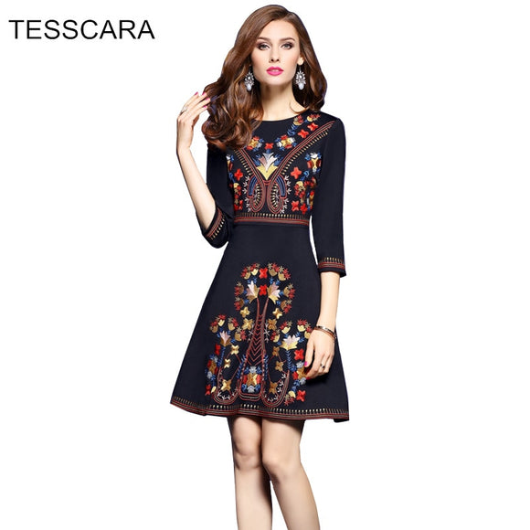 Women Autumn Office Dress Female Embroidery Vestidos Retro Robe Femme Black Work Wear Uniforms Vintage Bohemian Style Clothing