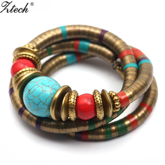 Fashions Vintage decoration For Women Girls Tibetan Bracelets & Bangles Inlay Roundness Bead Adjust Bangle wholesale