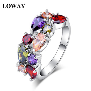 LOWAY White Colorful Gold Color Engagement Austrian Zirconia Rings for Women Wedding Jewelry