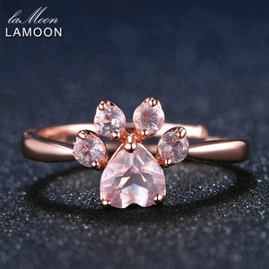 LAMOON Bear's Paw 5mm 100% Natural Pink Rose Quartz Ring 925 Sterling Silver Jewelry Rose Gold