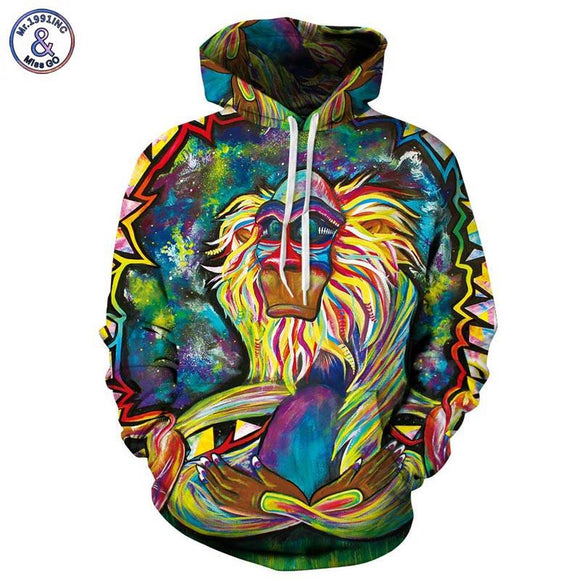 Mr.1991INC Spring Autumn Thin Hooded Hoodies Men/women 3d Sweatshirts With Cap Print Wizard Clown Oil Printing Hoody Hoodies