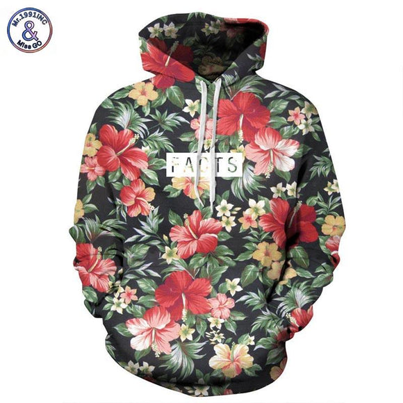 Mr.1991INC Autumn Winter Fashion Men/women Hoodies With Cap Print Red Flowers Green Leaves 3d Hooded Sweatshirts Hoody Tracksuit