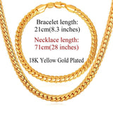 Gold/Rose Gold Color Chain For Men Necklace Bracelet Set Hot Fashion Men Jewelry Sets NH739