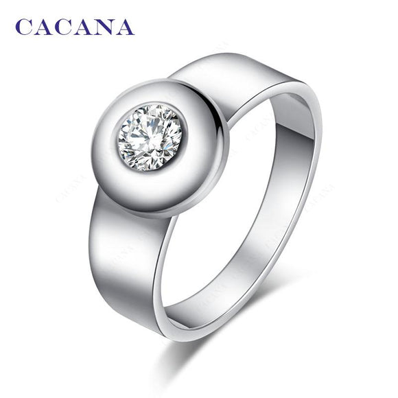 CACANA Stainless Steel Rings For Women With Round CZ Fashion Jewelry