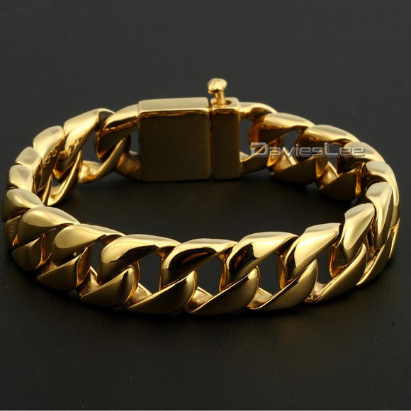Davieslee 15mm Wide Gold-color Round Curb Cuban 316L Stainless Steel Bracelet Mens Boys Unisex Jewelry ping DLHB123