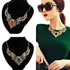 Luxury New Women's Lady Crystal Hollow Out Flower Pattern Choker Bib Necklace Red Green Hot Selling 02K3