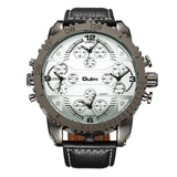 Oulm Brand Sports Men Big Watch Leather Strap Four Time Zones Quartz Watch Large Oversized Male Military Clock reloj hombre