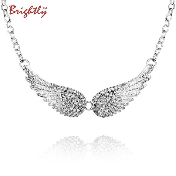 Brightly Trendy Angel Wings Choker Necklace Luxury Rhinestones Pendants Necklaces for Women Collar Fashion
